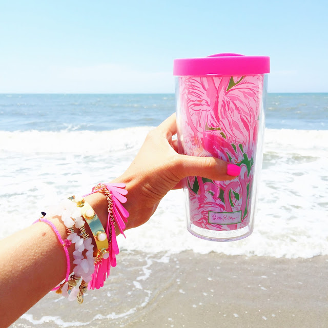 Lilly Pulitzer tumbler on the beach
