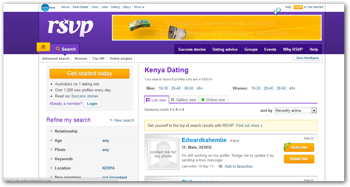 Search dating sites using email