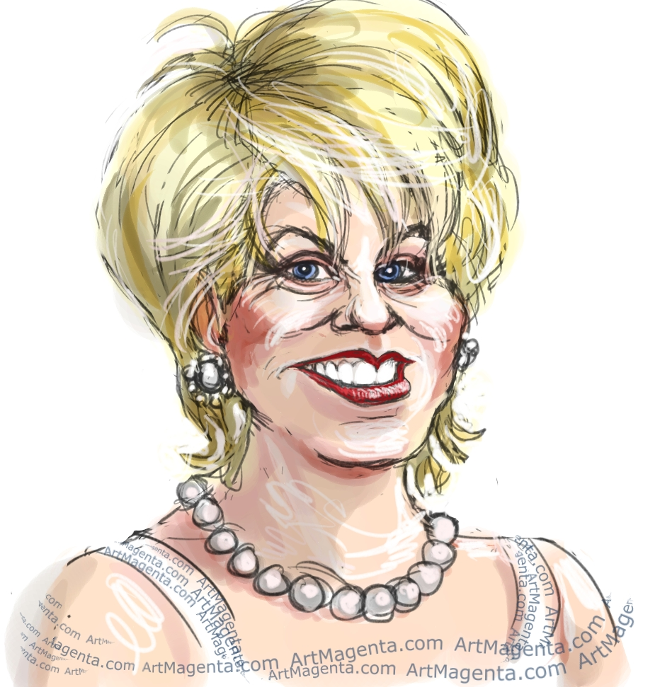 Elaine Paige caricature cartoon. Portrait drawing by caricaturist Artmagenta