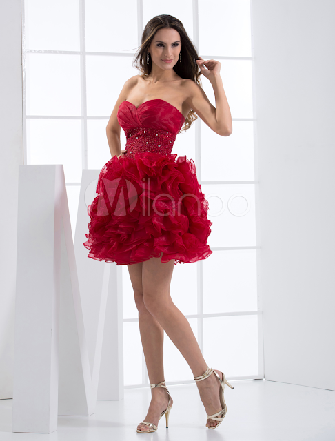 China Wholesale Homecoming Dresses - Elegant Mini Burgandy Tulle Sweetheart Womens Homecoming Dress