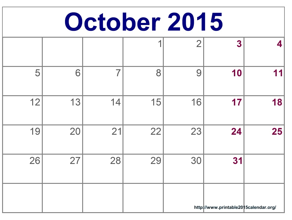 October Calendar 2015 : Month blank calendar template autos post