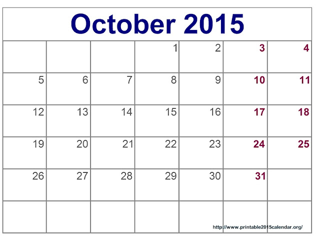 Free October 2015 Printable Calendar , Free October 2015 Blank ...