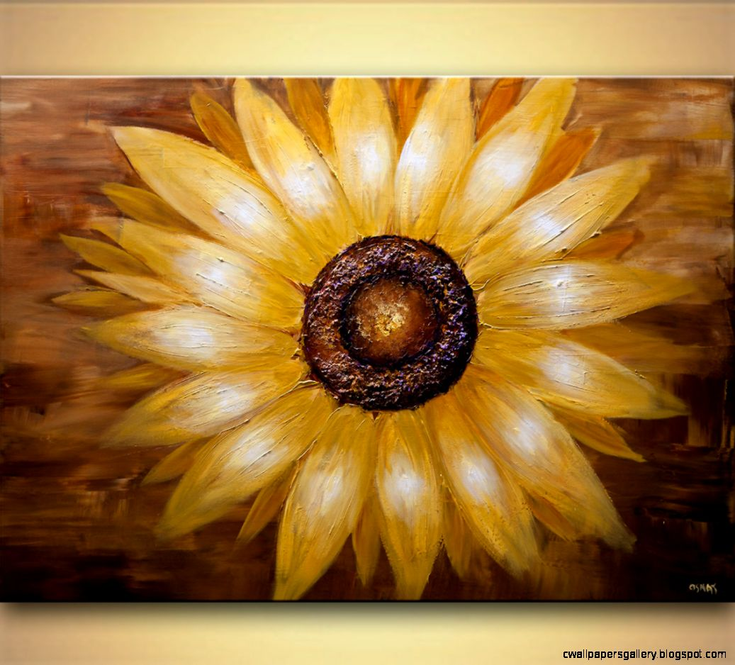 Landscape painting   original modern abstract sunflower painting