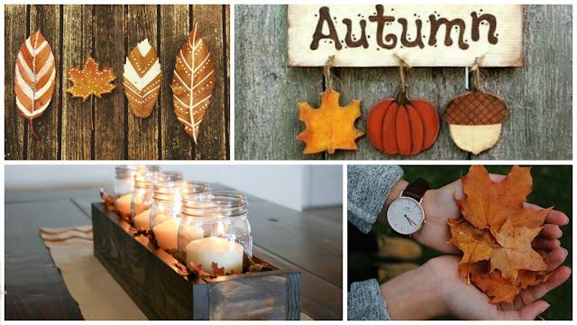 jesień, liście, ozdoby, świeczki