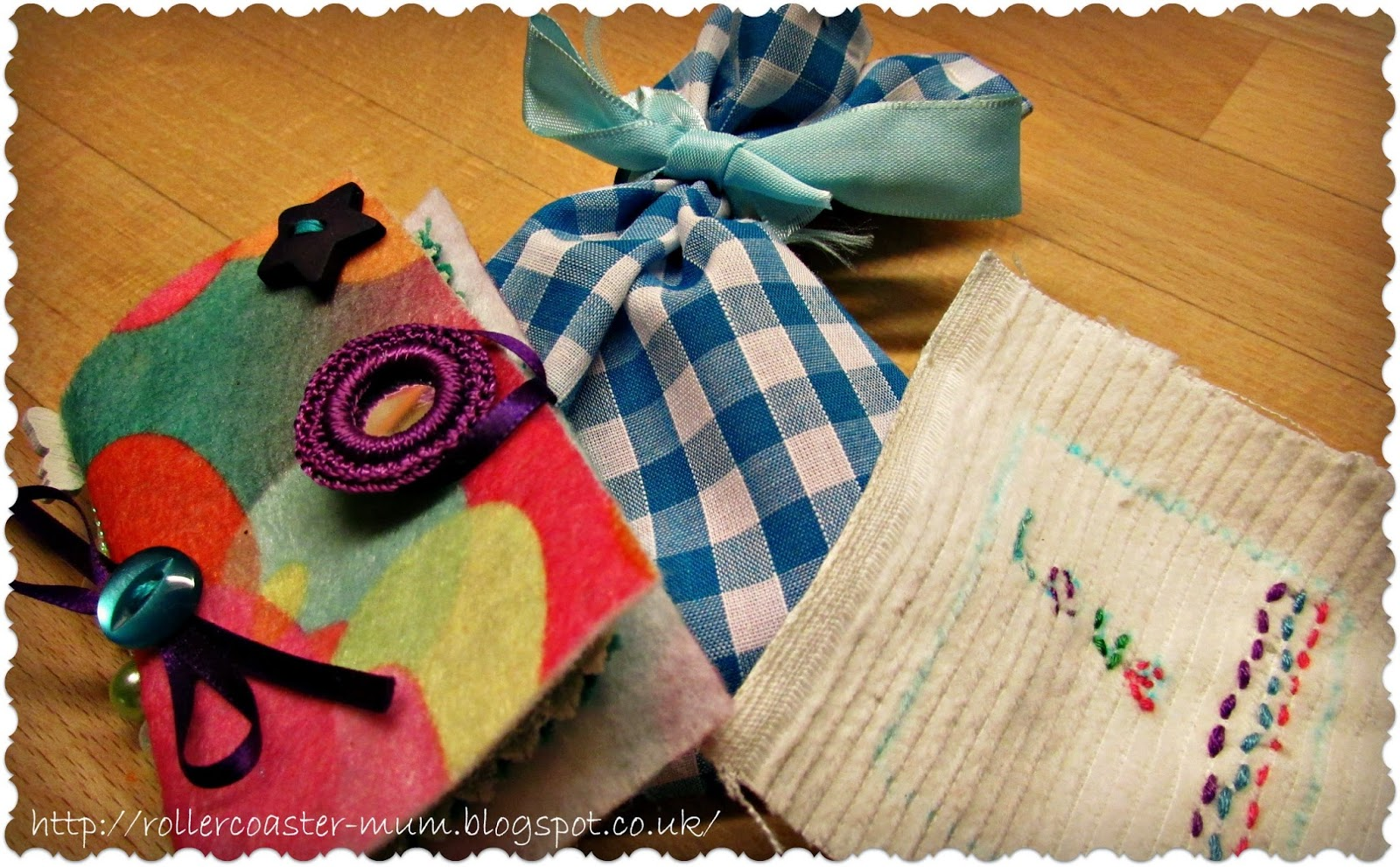 easy sewing projects- needle case, gift bag and badge