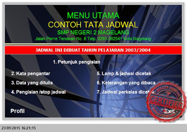 MEMBUAT JADWAL SMP TAHUN 2015-2016 MENGGUNAKAN MS. EXCEL
