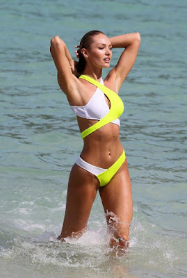 Candice Swanepoel flaunts pert derrière for VS shoot in St. Barts