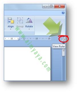 gambar: cara menampilkan / memunculkan ruler di microsoft word 2007