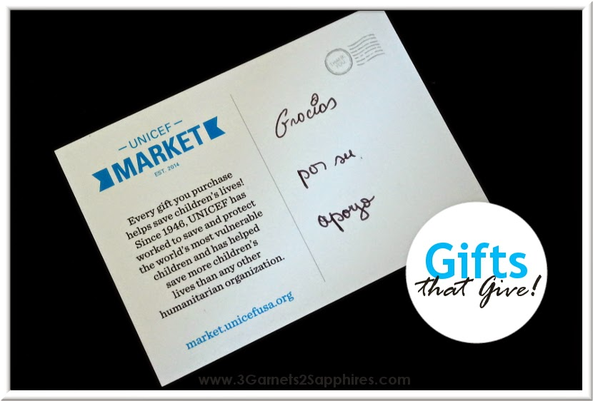 UNICEF Market Thank You Card - Gifts That Give  |  www.3Garnets2Sapphires.com