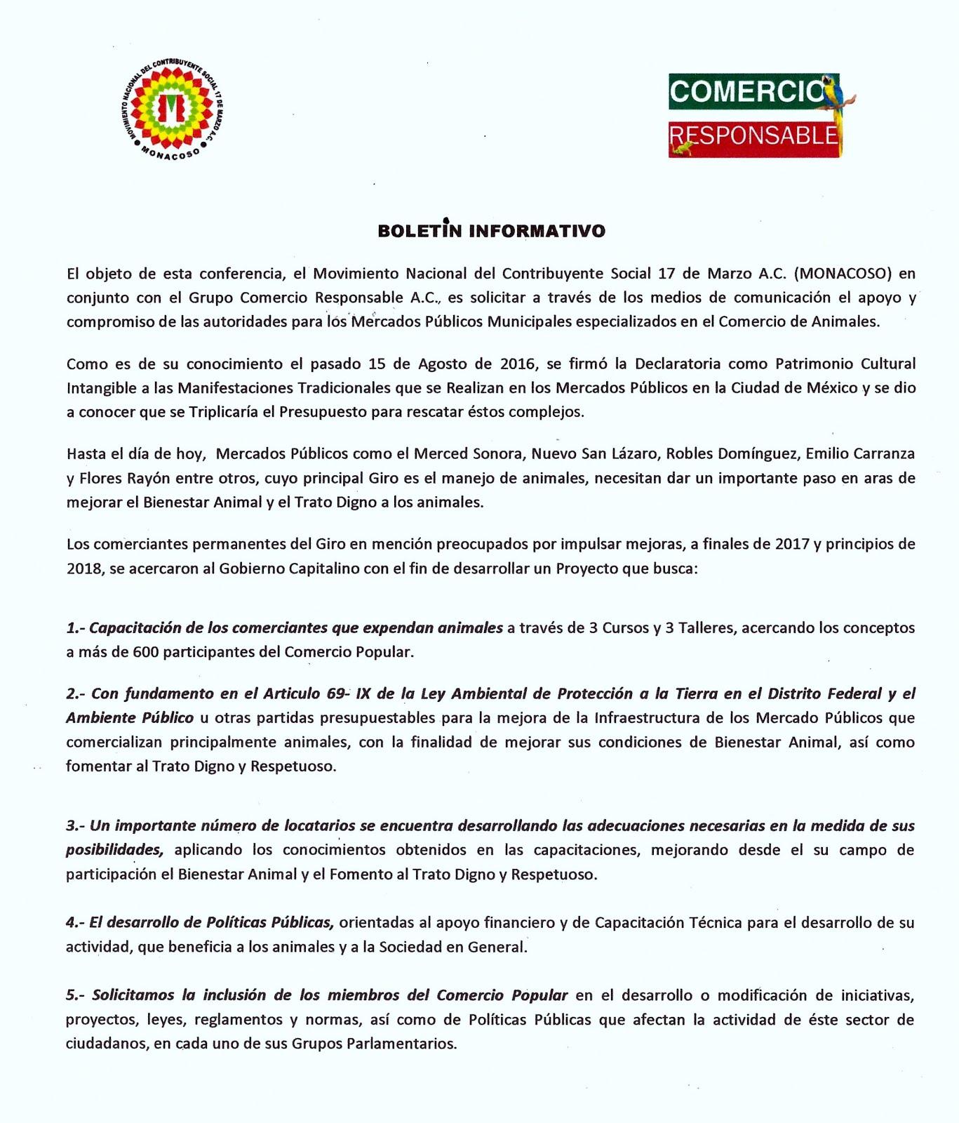 BOLETÍN DE MONACOSO 17 DE MARZO A.C.