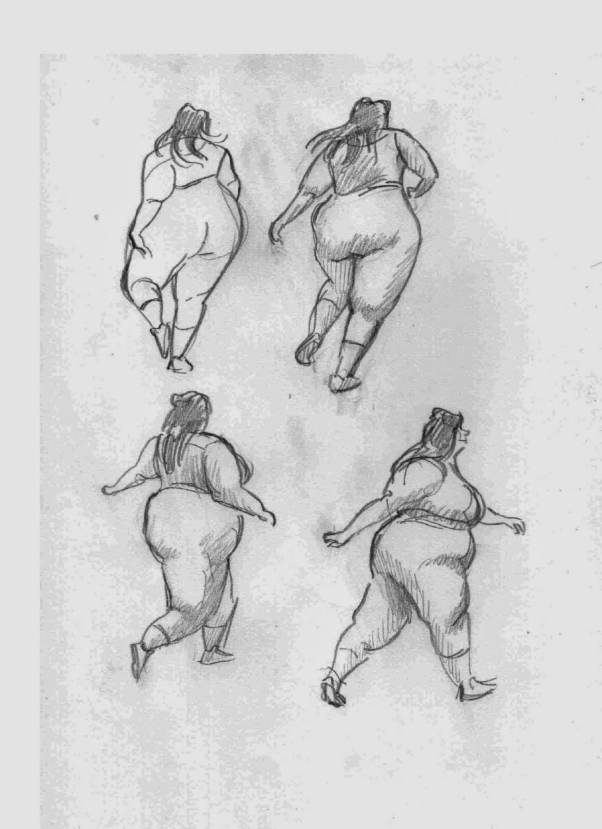 gesture drawing practice of a fat dancing girl
