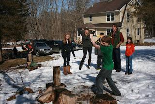 boy chopping wood