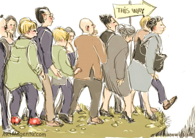 Queuing can be a passion is a sketch by artist and illustrator Artmagenta