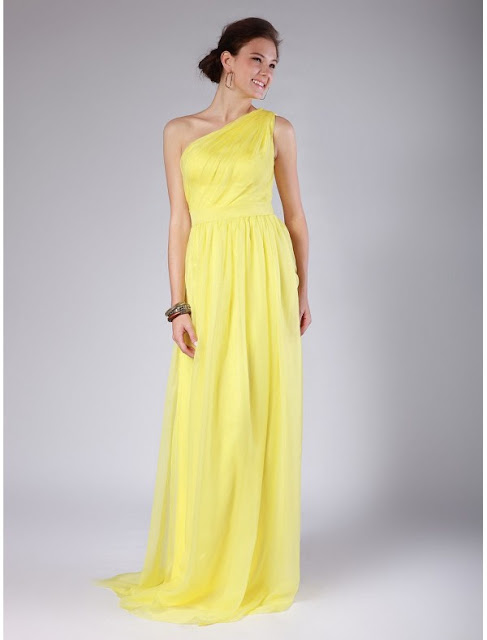 Organza One Shoulder A-Line Vintage Bridesmaid Dress with Rouched Bodice