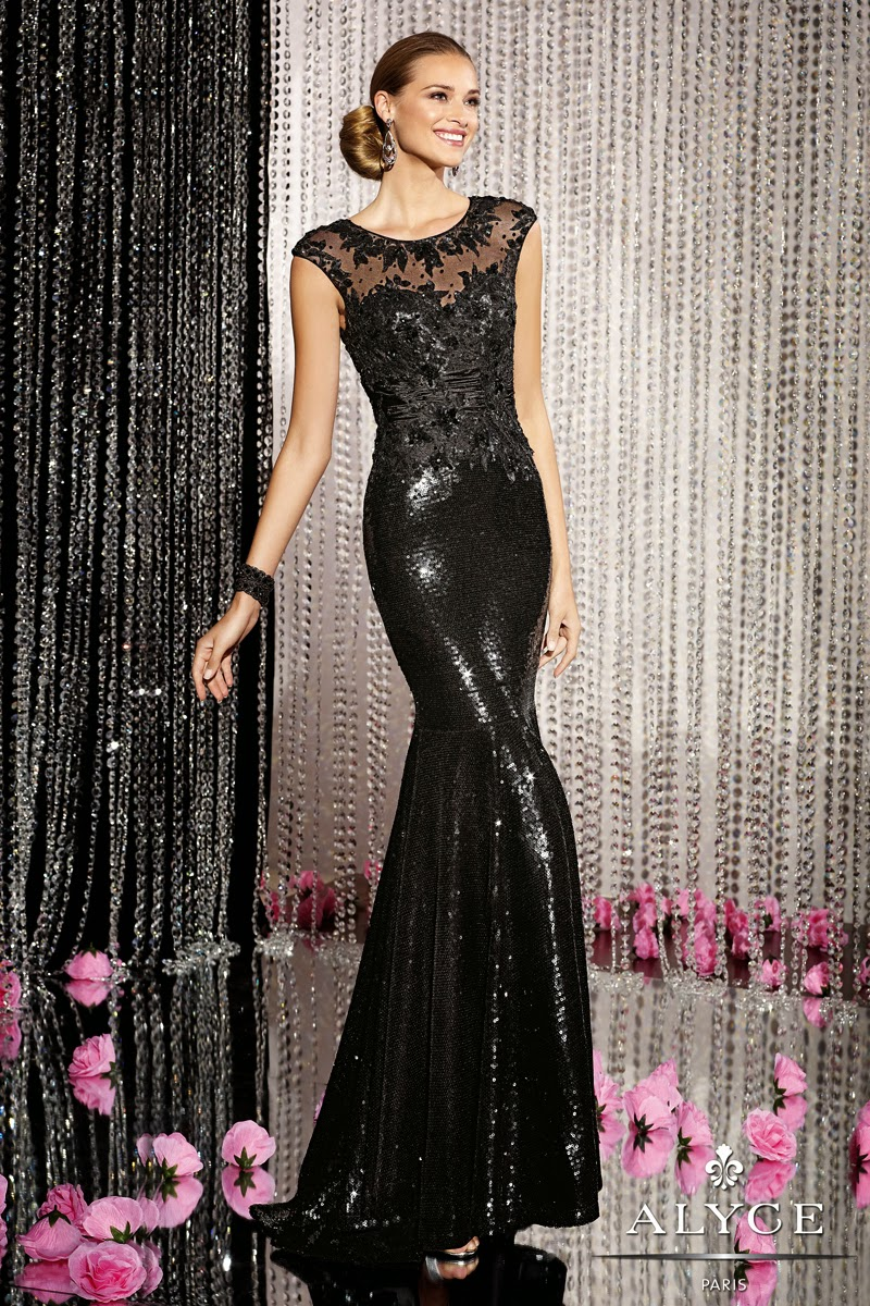 black sequin evening dress alyce paris
