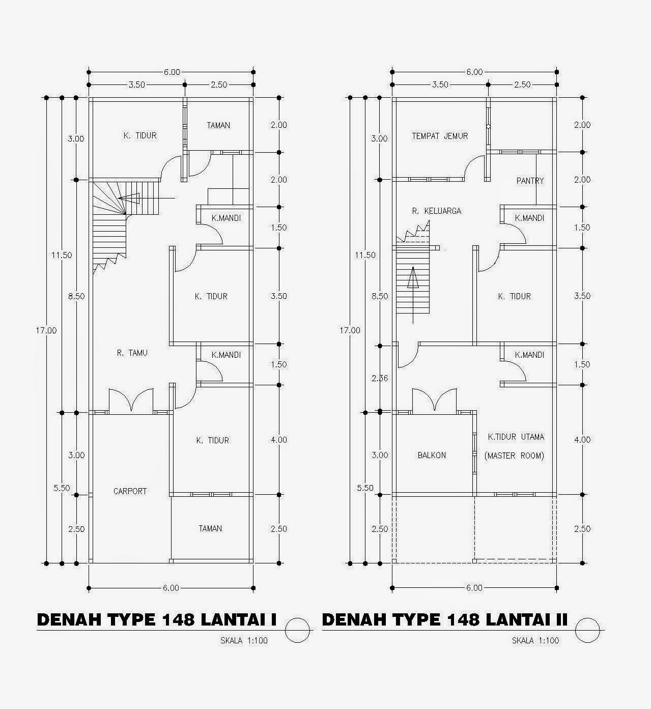 Desain Denah Rumah Minimalis Type 148 6x17 2 Lantai Denah