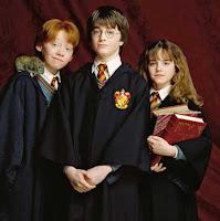 Harry, Ron y Hermione en La piedra filosofal
