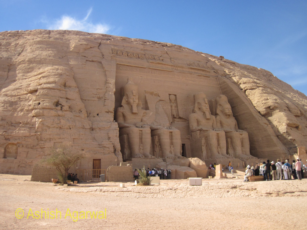 The huge temple of Abu Simbel in Egypt, with tourists all around