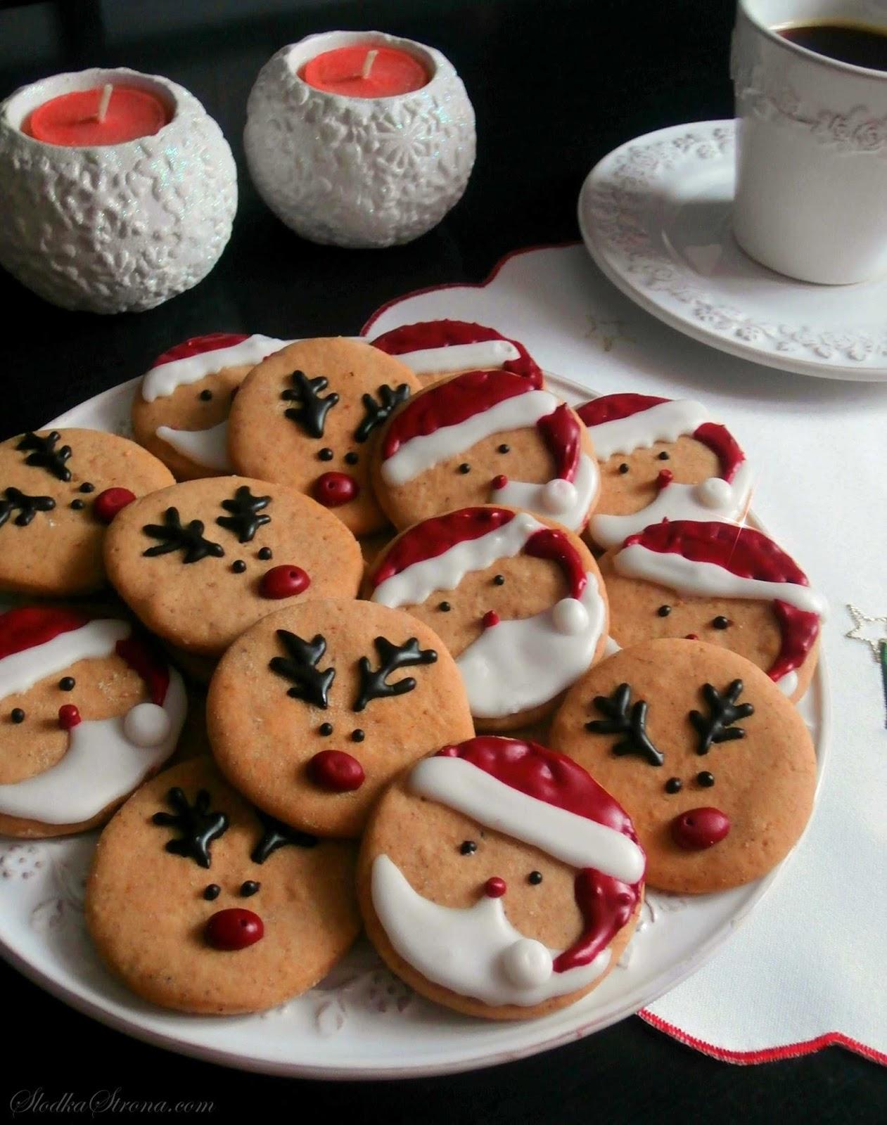 ciasteczka boże narodzenie z reniferami, Mikołajem dla dzieci