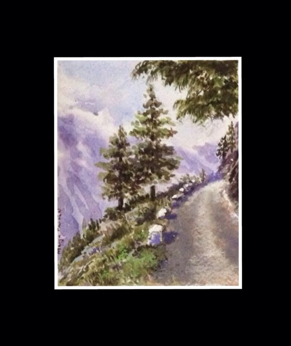 Water colour painting created from personal reference photograph of KALPA, beautiful town in Kinnaur district of Himachal Pradesh.