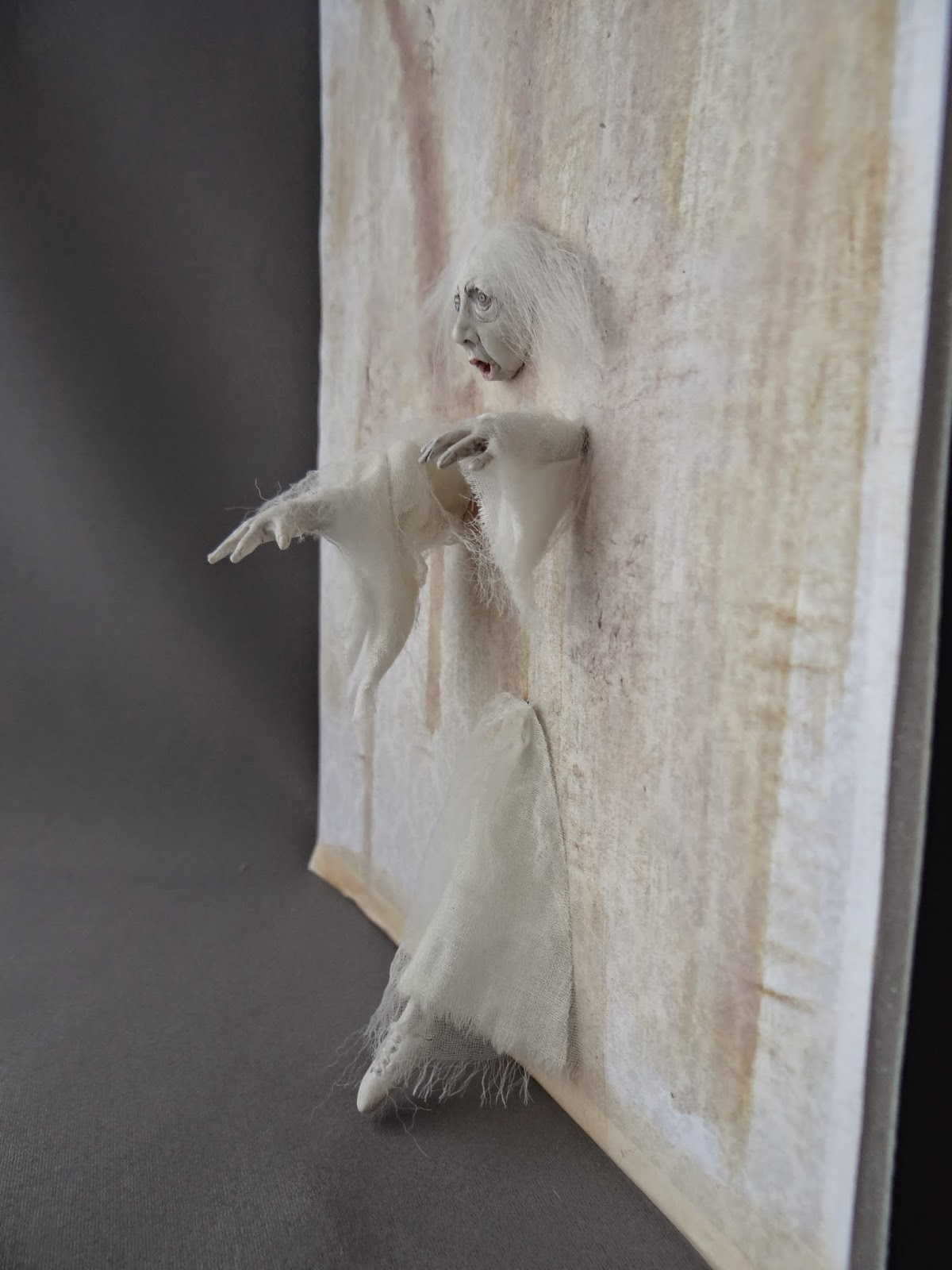 from the studio of pat benedict haunted dollhouse miniature ghost walking through wall by pat. Black Bedroom Furniture Sets. Home Design Ideas