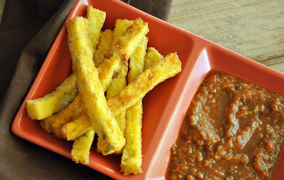 Recipe: Crispy polenta fries with fresh rosemary and smoked mozzarella