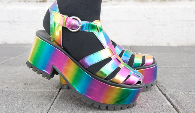 rainbow shoes, platform sandals, yru