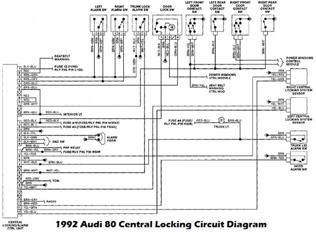 1992 Audi 80 Lock And Alarm Control Unit Wiring Diagram