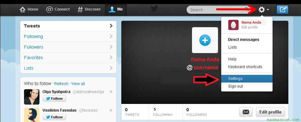 Cara setting akun Twitter baru yang selesai dibuat