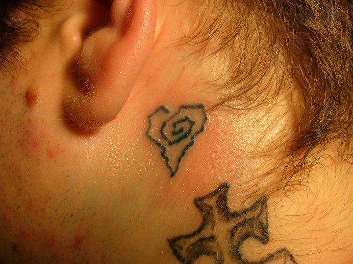 Birds tattoos for you bird tattoo behind ear for Heart tattoo behind ear