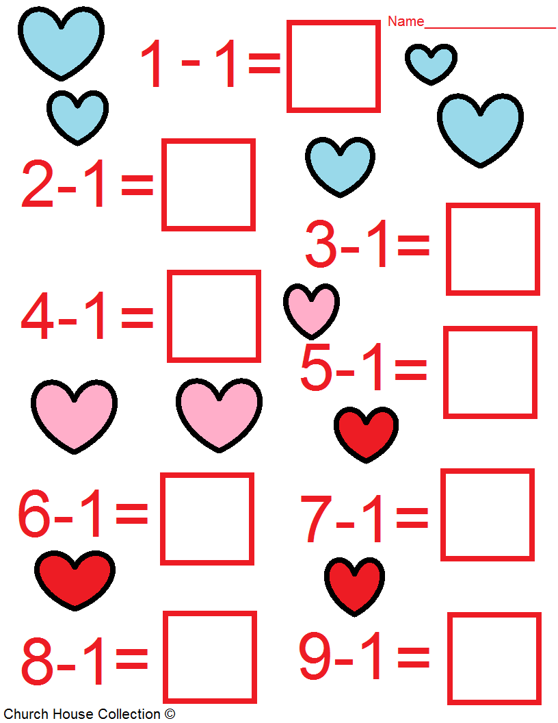 Church House Collection Blog Valentine S Day Math Worksheets For Kids