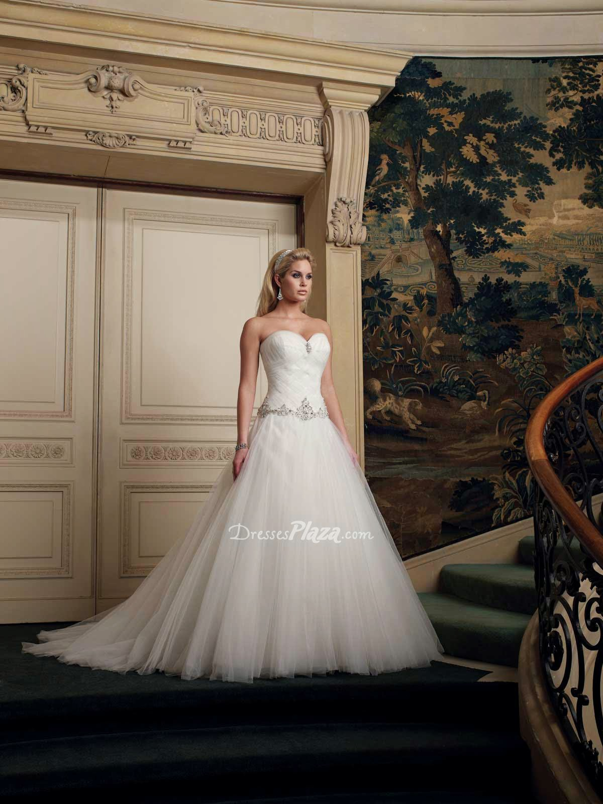 Jewel Bodice With Tulle Skirt Wedding Dress