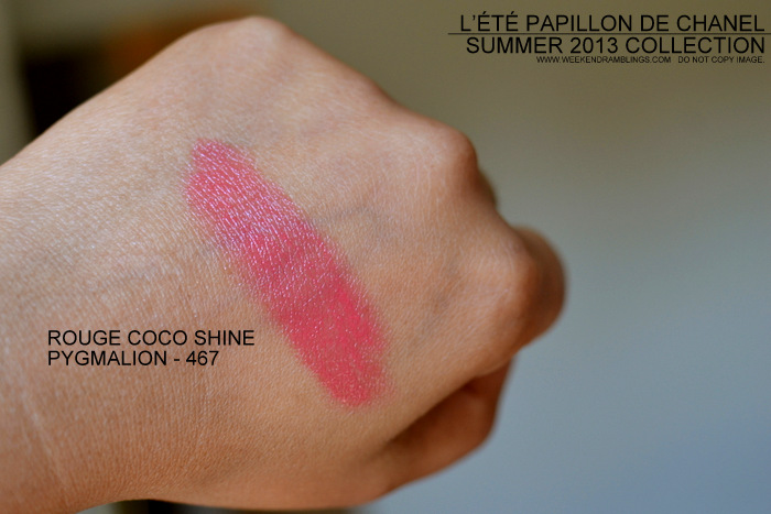 Rouge Coco Shine Lipstick Pygmalion Review Photos Swatches FOTD LEte Papillon de Chanel Makeup Collection Summer 2013 Indian Darker Skin Beauty Blog