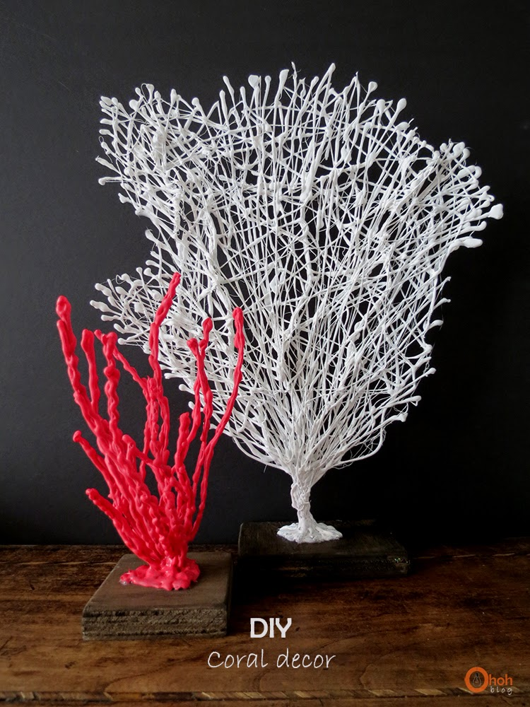 coral branch made from wire covered in hot glue and paint
