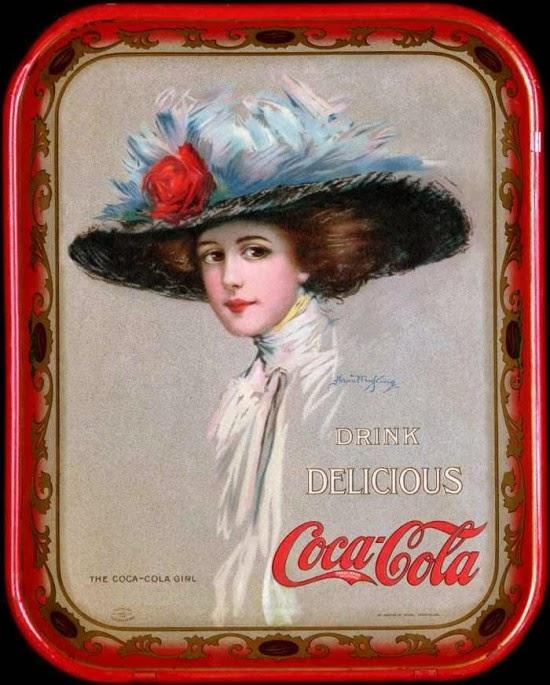 Cartaz com a garota Coca-Cola de 1910.