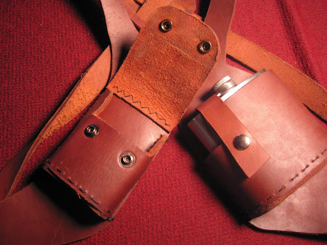 Vice Holster (cigarettes and flask) hand made top grain leather holster