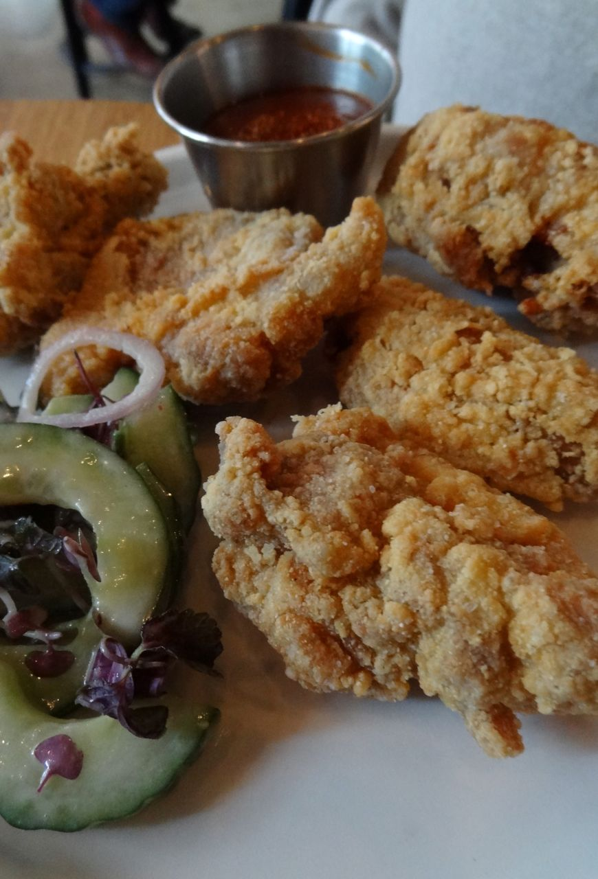 Buttermilk Fried Chicken with Cucumber Salad and hot sauce
