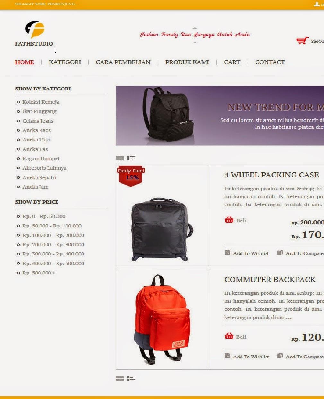 Web toko online Respoinsive galeri fashion