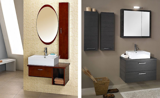 Bathroom Vanity Quality Bath which is Made from Dark Brown Colored Wooden Material