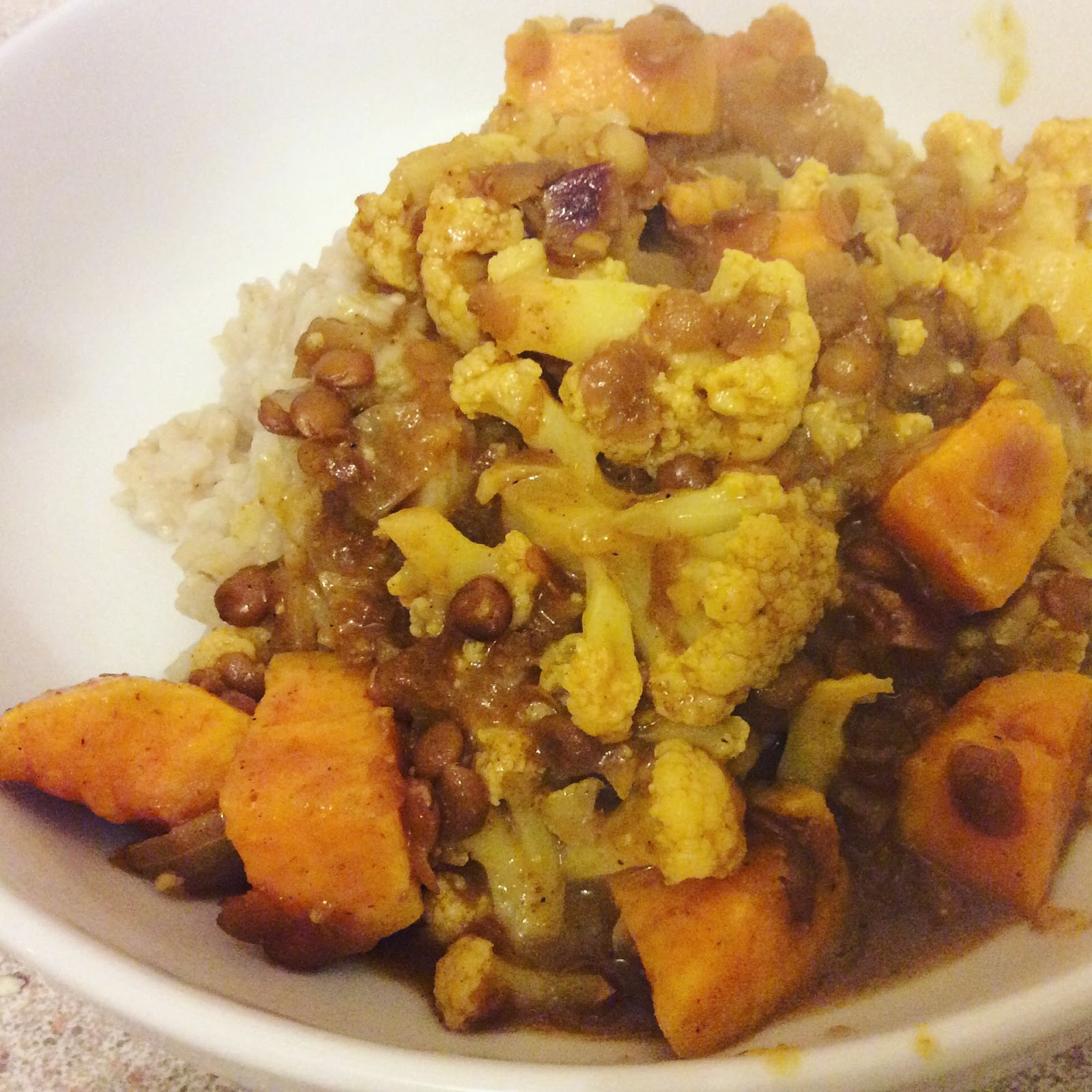 lentil, sweet potato and cauliflower curry