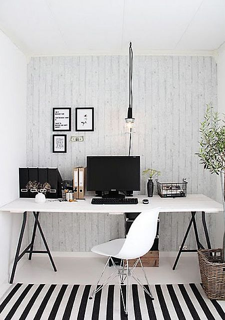 elegant and modern black and white home office