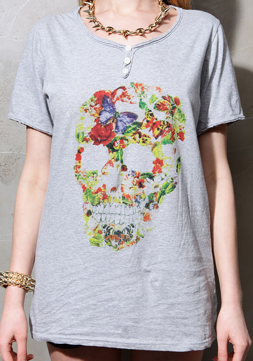 Floral Skull Print Button Up Tee