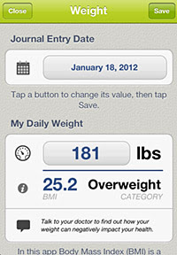 AMA Weigh What Matters app screen