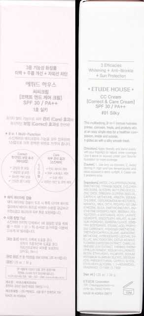 A photo of Etude House Correct & Care CC Cream Silky  box description