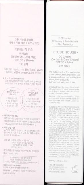 A photo of Etude House Correct & Care CC Cream Silky  box description