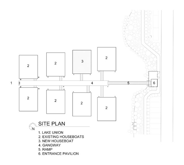 Site plan of floating homes on the lake Union