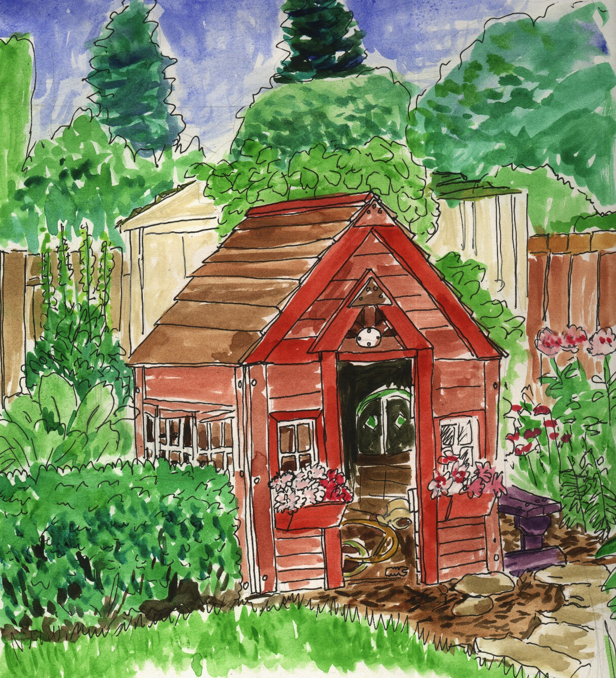 My house with garden drawing for kids - Garden House Drawings Garage Drawing Myhousehkcom