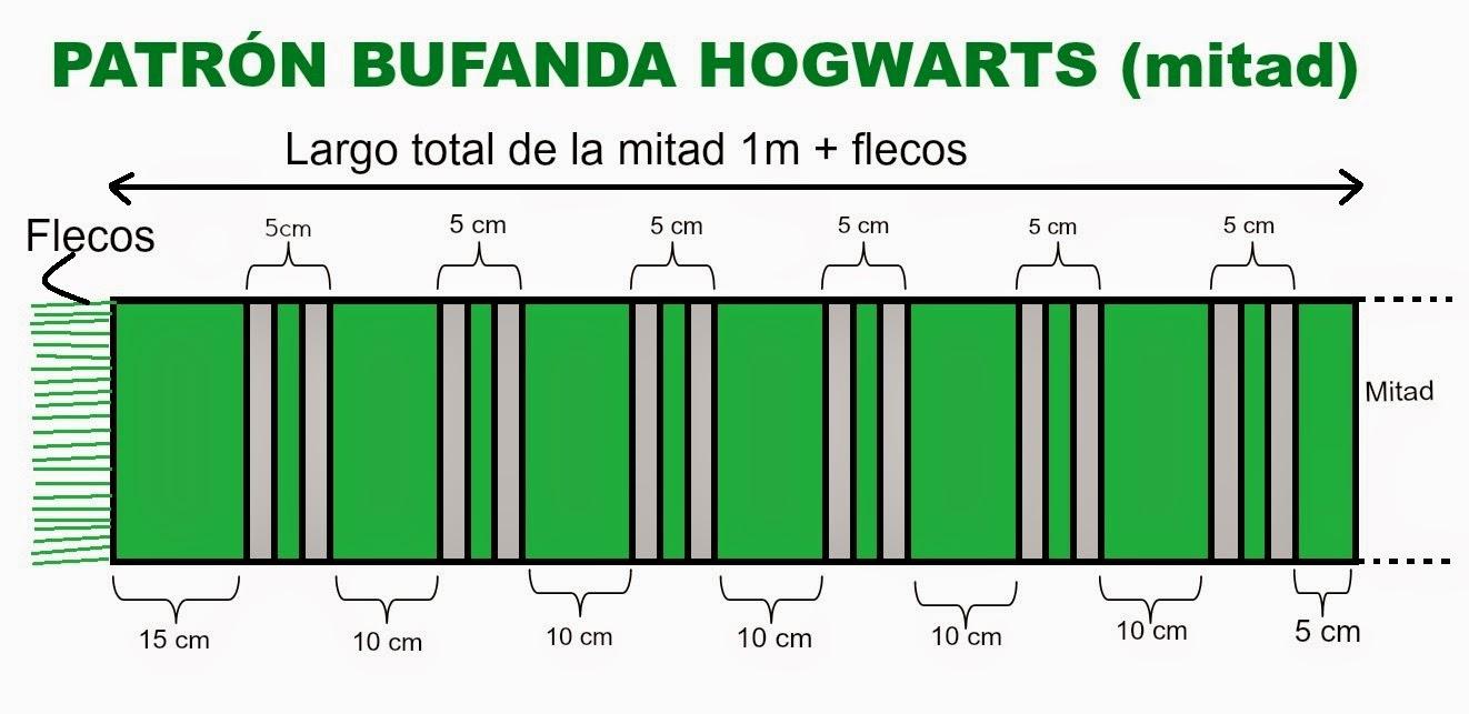 O obradoiro de Klor: Bufanda del colegio Hogwarts de Harry Potter ...