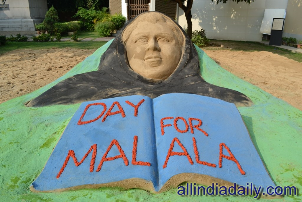 A sand sculpture of Pakistani Schoolgirl Malala Yousufzai, with a message Day for Malala on 10th Nov and this date is called Day of Malala at Birla Art Academy  Kolkata by Sudarsan Pattnaik