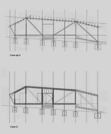 Plano con dos cortes de la Casa de cobre 2
